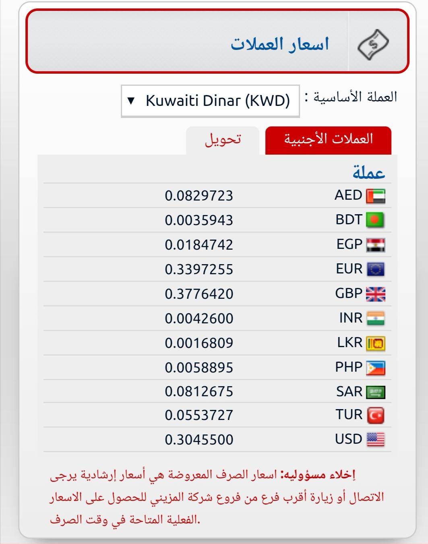 اسعار المزينى للصرافة اليوم سعر الالف المصري اسعار العملات فى الكويت الان المزيني للصرافة سبتمبر