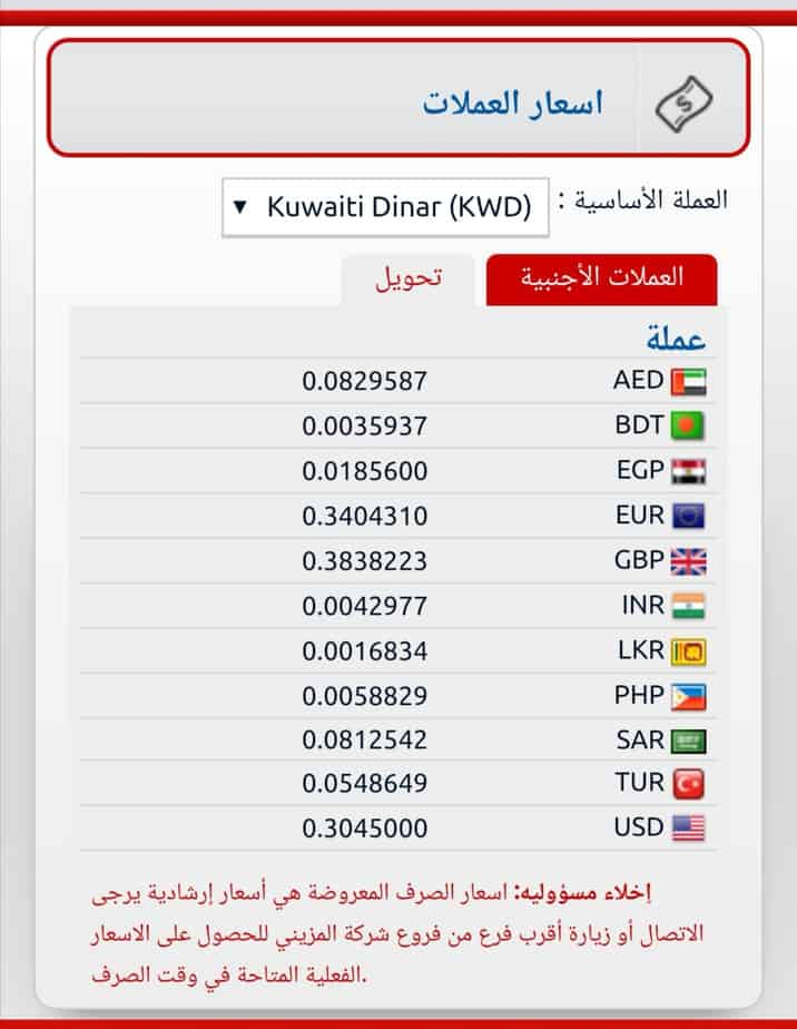 سعر تحويل الجنية المصرى و اسعار العملات في صرافة المزينى اليوم  الاحد ١٥ سبتمبر