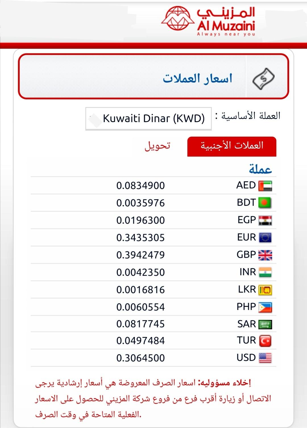 المزينى للصيرفة المزيني الكويت تحويل الي مصر