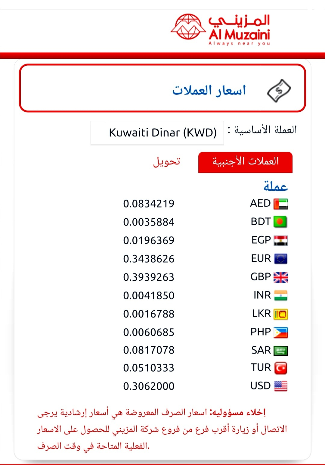 المزيني للصرافة اسعار العملات شركة المزيني للصيرفة الكويت