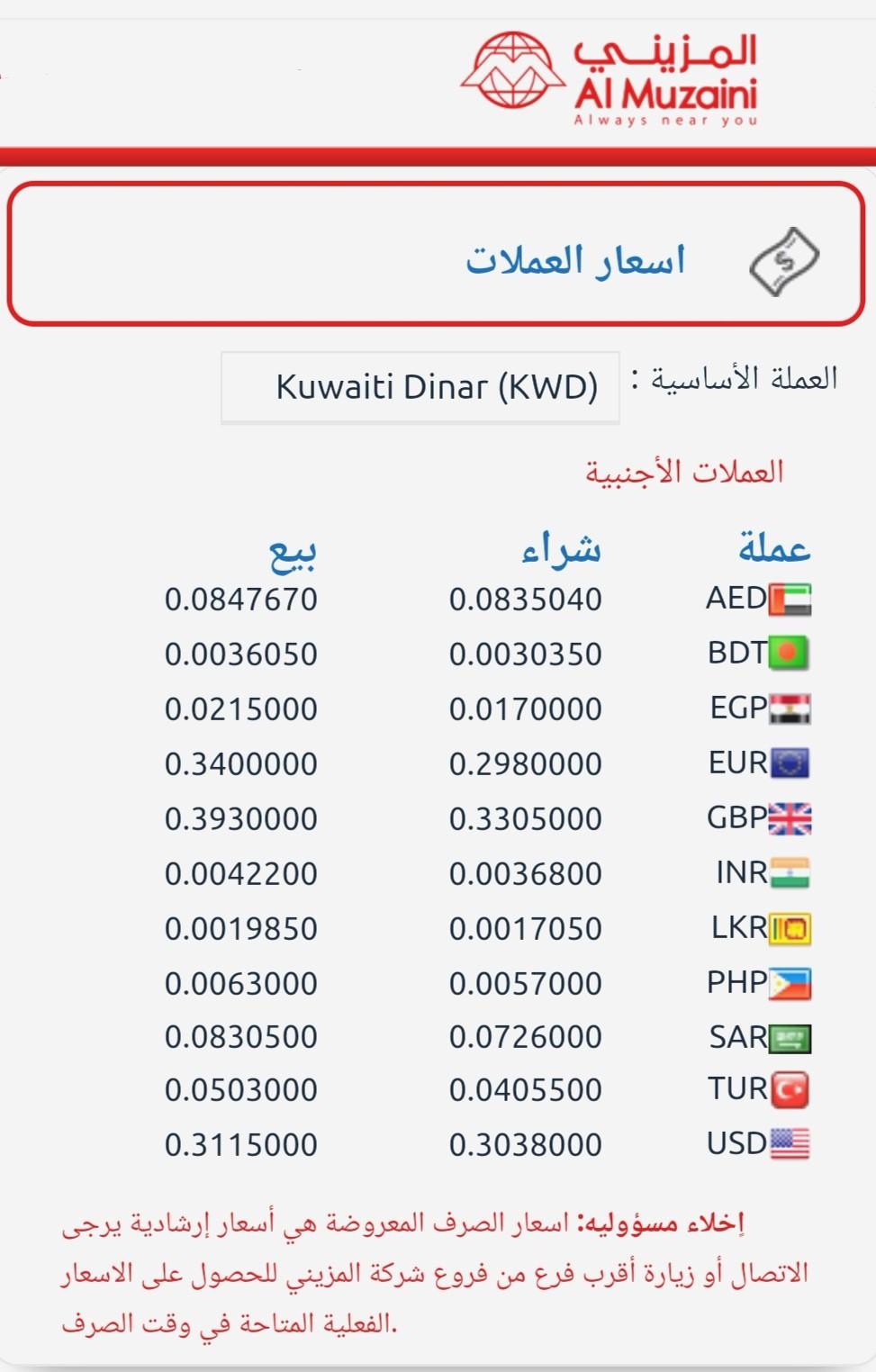 اسعار العملات بالكويت اليوم  صرافة المزيني