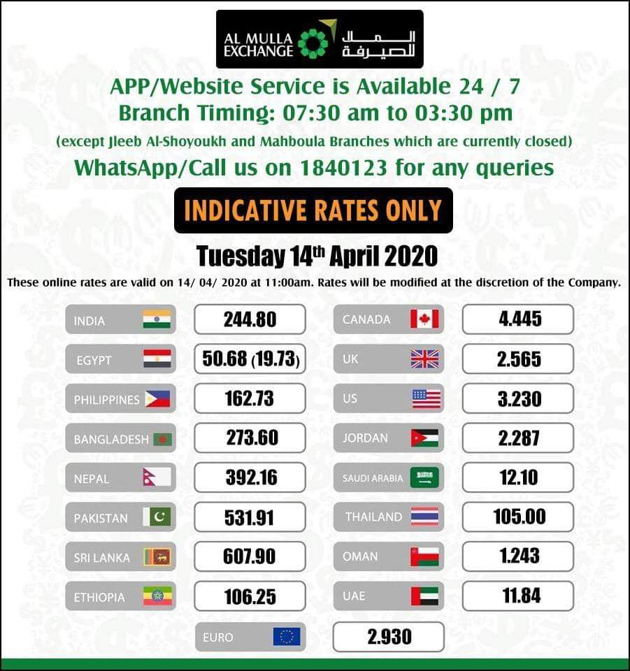 اسعار التحويل العملات مقابل الدينار الكويتي صرافة الملا الاربعاء ١٤ أبريل ٢٠٢٠