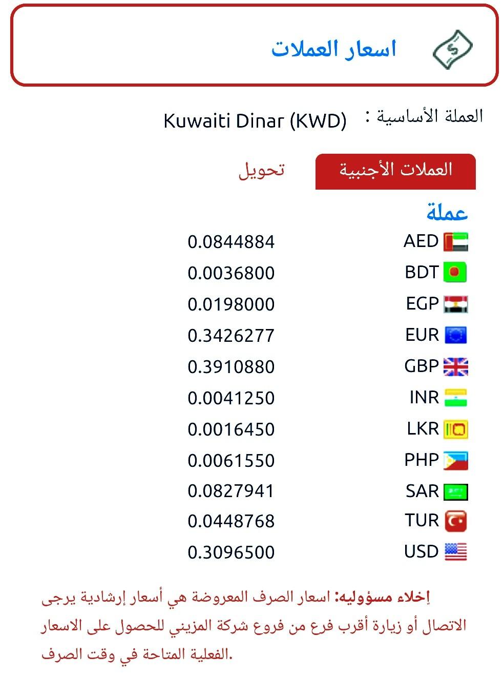 التحويل من الدينار الكويتي الى الدولار أسعار العملات فى المزيني للصرافة ٢٩ أبريل