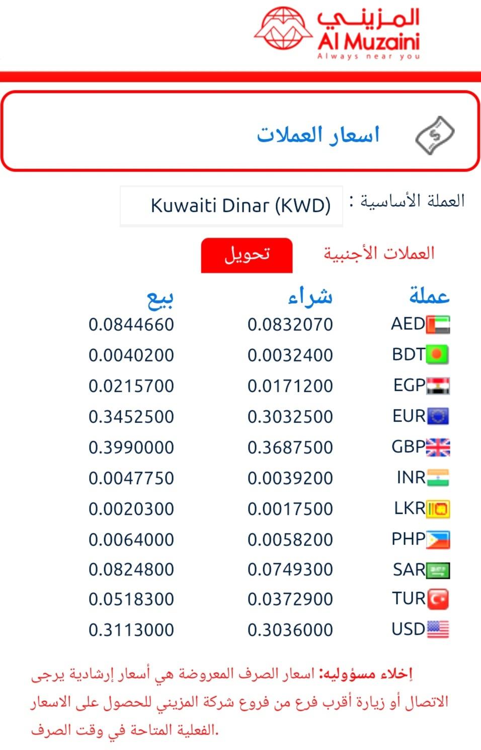 شركة المزيني اون لاين سعر تحويل المزينى سعر الدينار الكويتى اليوم