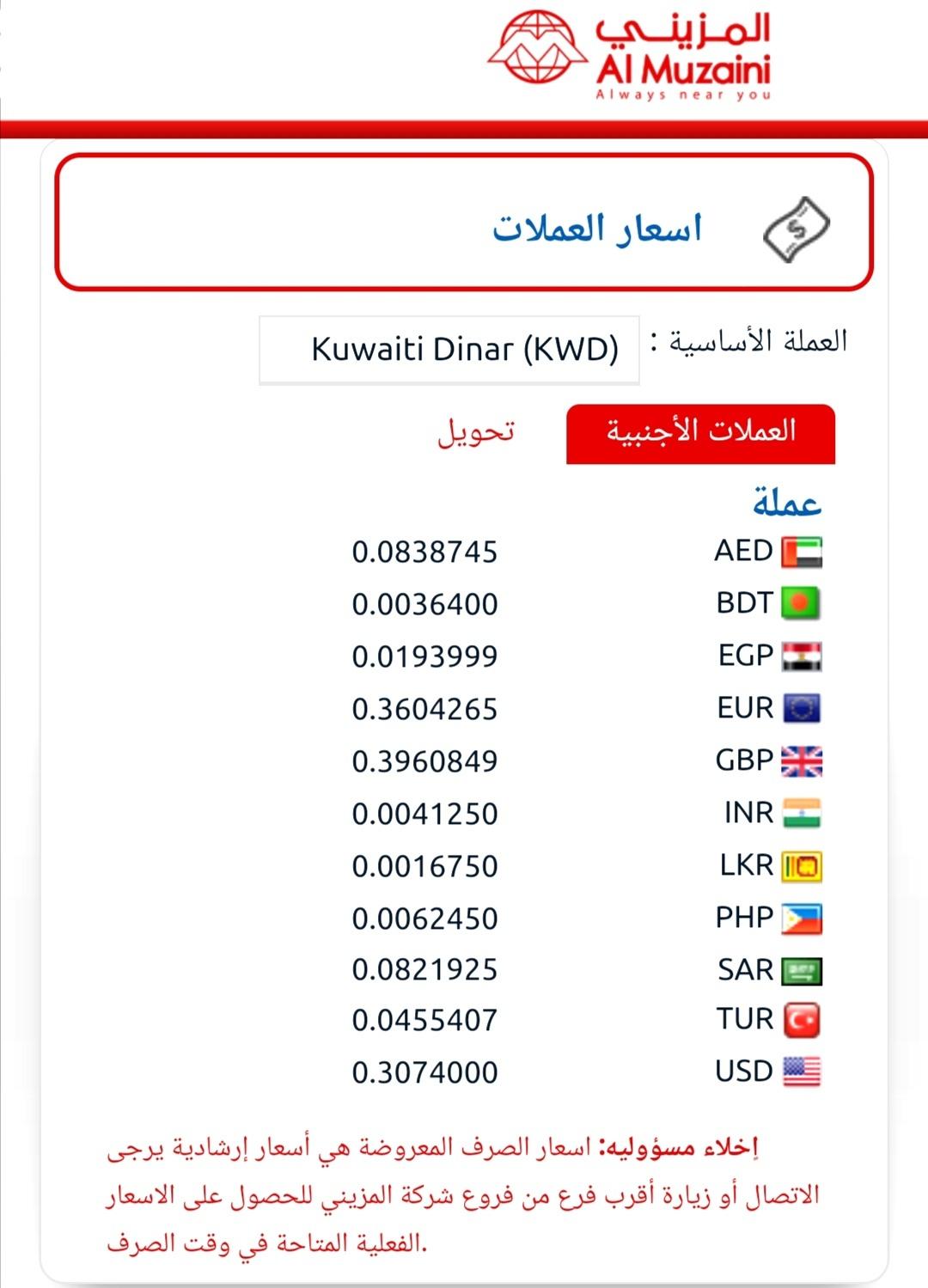 اسعار تحويل الجنية والدولار والدينار الاردني جميع صرافات الكويت الجمعة ٢٤ يوليو المزينى