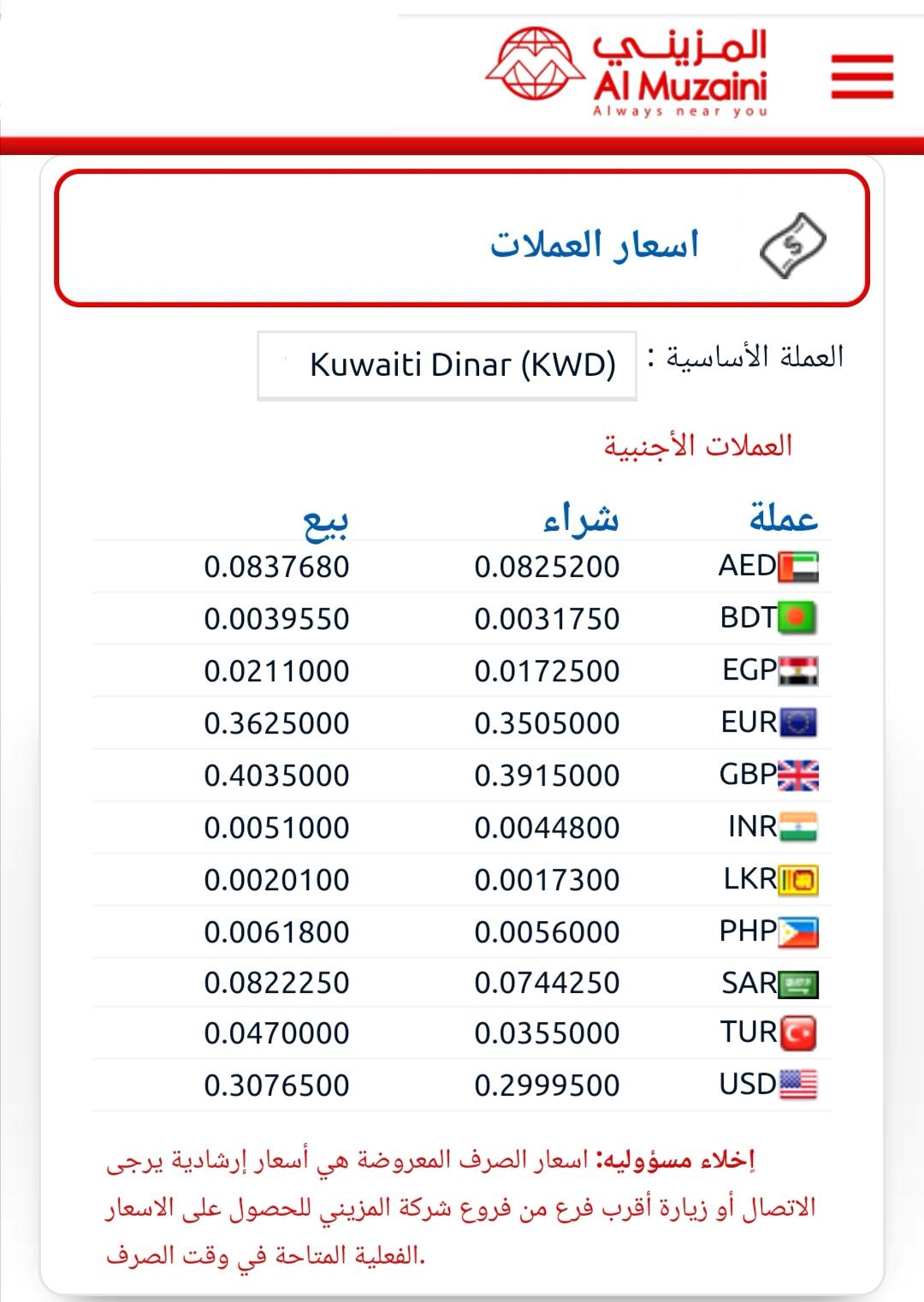 المزيني للصيرفة الكويت ١٠٠٠ جنيه مصري كم كويتي  الاربعاء ١٢ أغسطس ٢٠٢٠