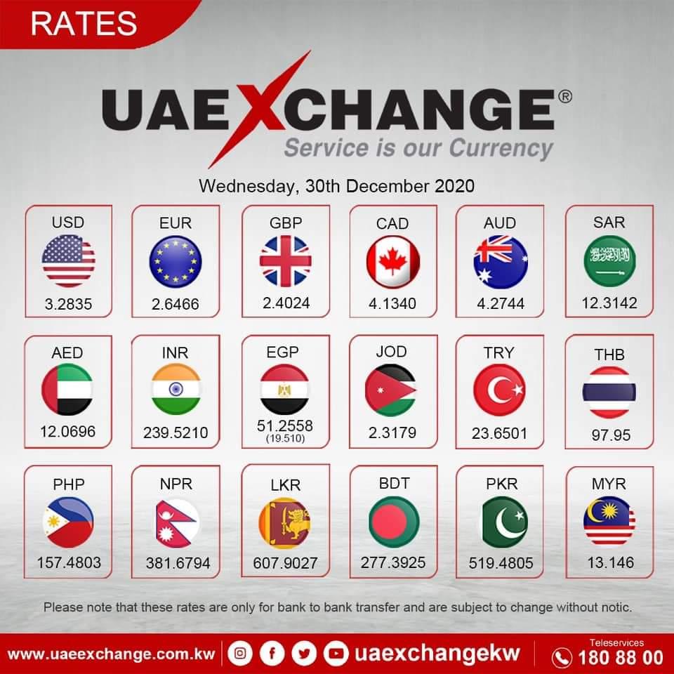 تحويل من دينار كويتي الى جنيه مصري صرافة الامارات اسعار العملات اليوم الأربعاء ٣٠ ديسمبر ٢٠٢٠