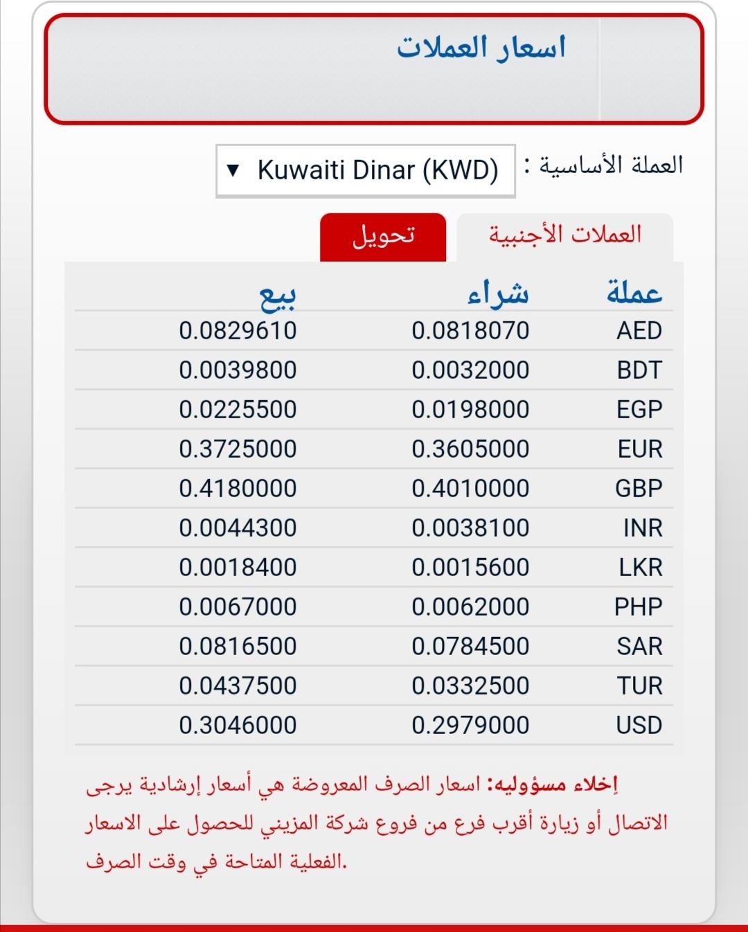 سعر تحويل المزيني تحويلات العملات المزيني ١٧ يناير ٢٠٢١
